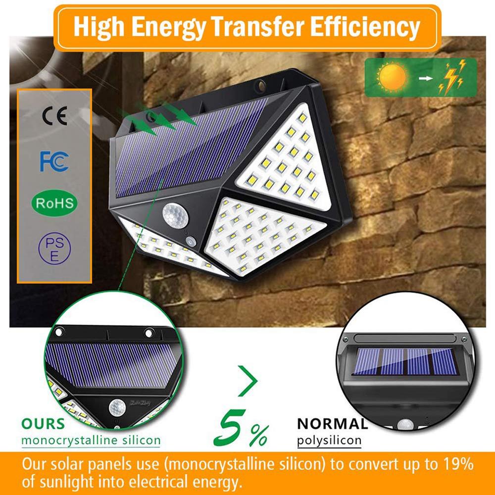 ARILUX® 100 LED Solar Powered Motion Sensor Outdoor Wall Light 8