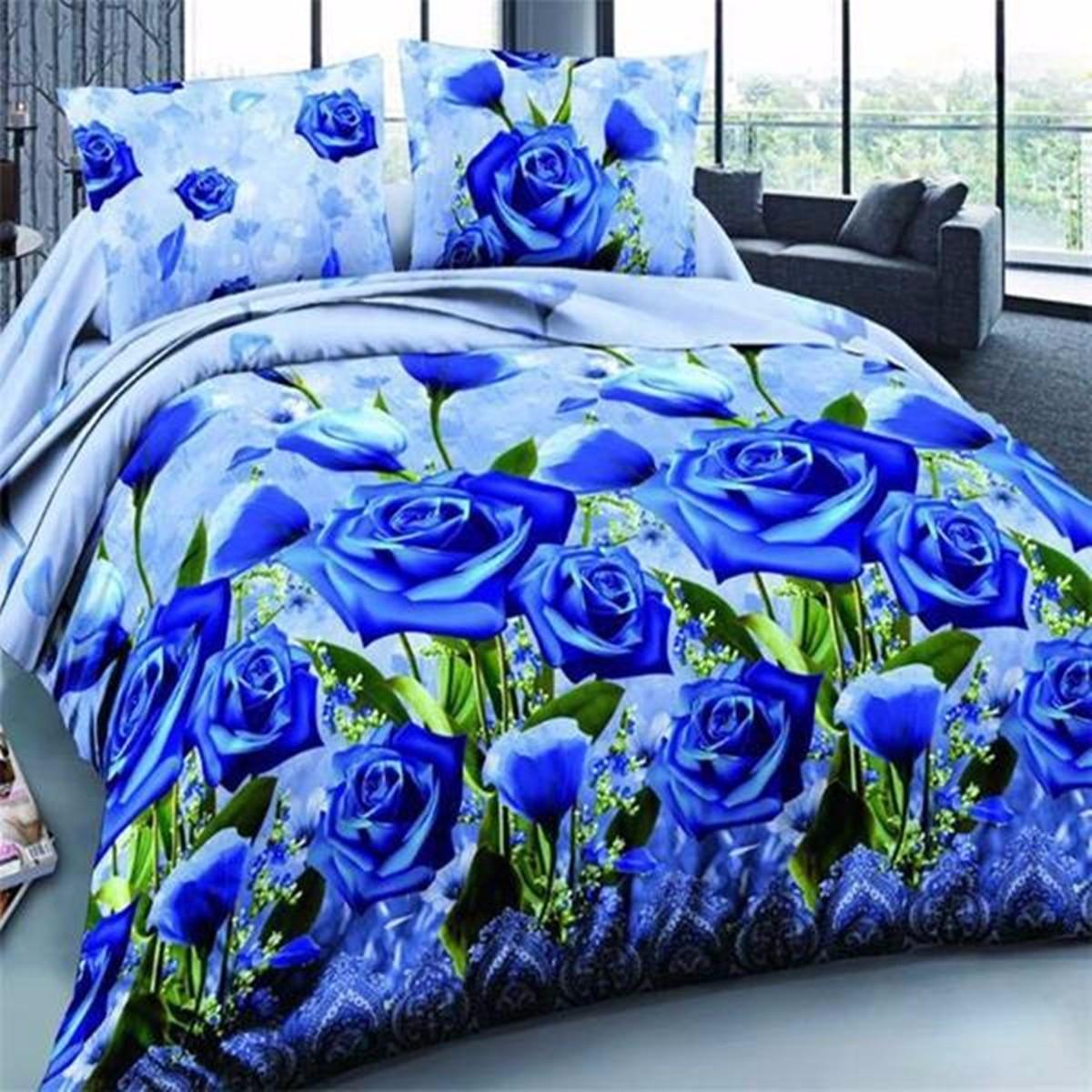 4Pcs 3D Blue Enchantress Печатные наборы для постельного белья Одеяло Обложка для постельного белья Наволочки