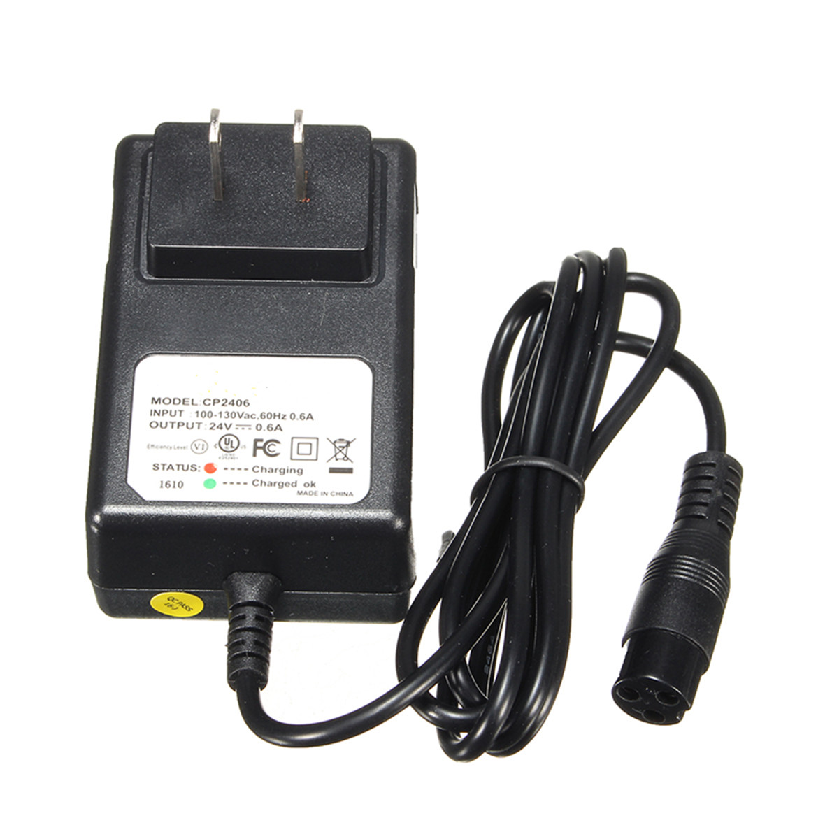 24V 0.6A Chargeur de batterie 3-Prong pour Razor E100 E125 E500S PR200 Scooter Bike