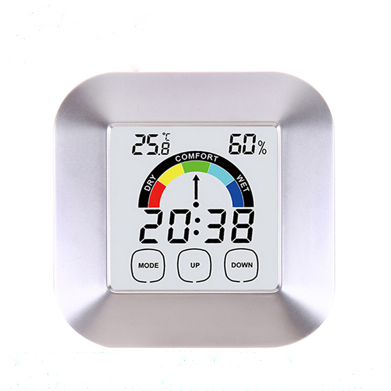 Household Touch Screen Digital Clock Temperature Humidity Display Alarm Outdoor Indoor Tester