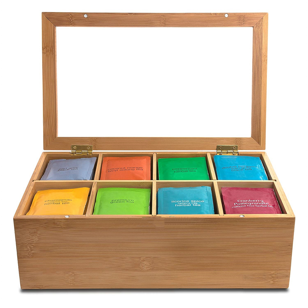 Wooden Tea Bag Box 6 Compartments Sections Storage Caddy Chest Organiser H6MM