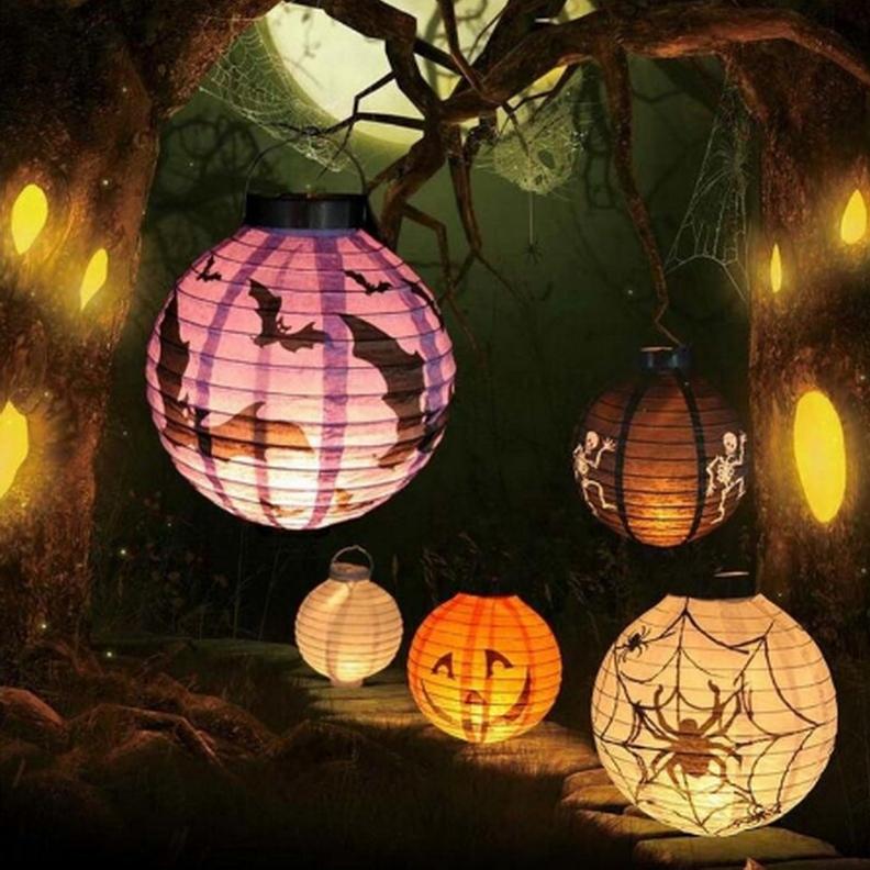 Хэллоуин LED Бумажный фонарь Тыквенный паук Бат-светильники Висячие Лампа Опоры украшения украшения