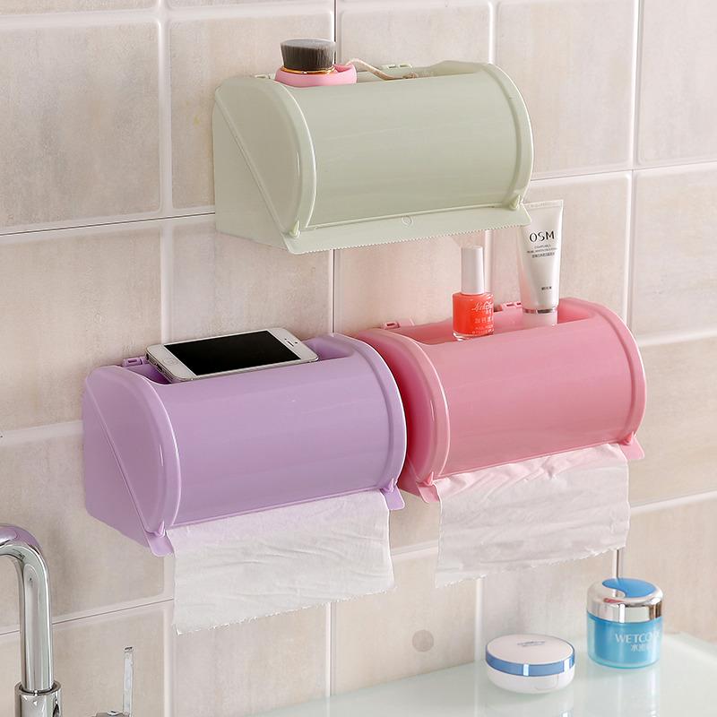 Honana Пластик Водонепроницаемы Держатель для туалетной бумаги Салфетка для хранения Коробка Self Adhesive Ванная комната Бумажный держатель для