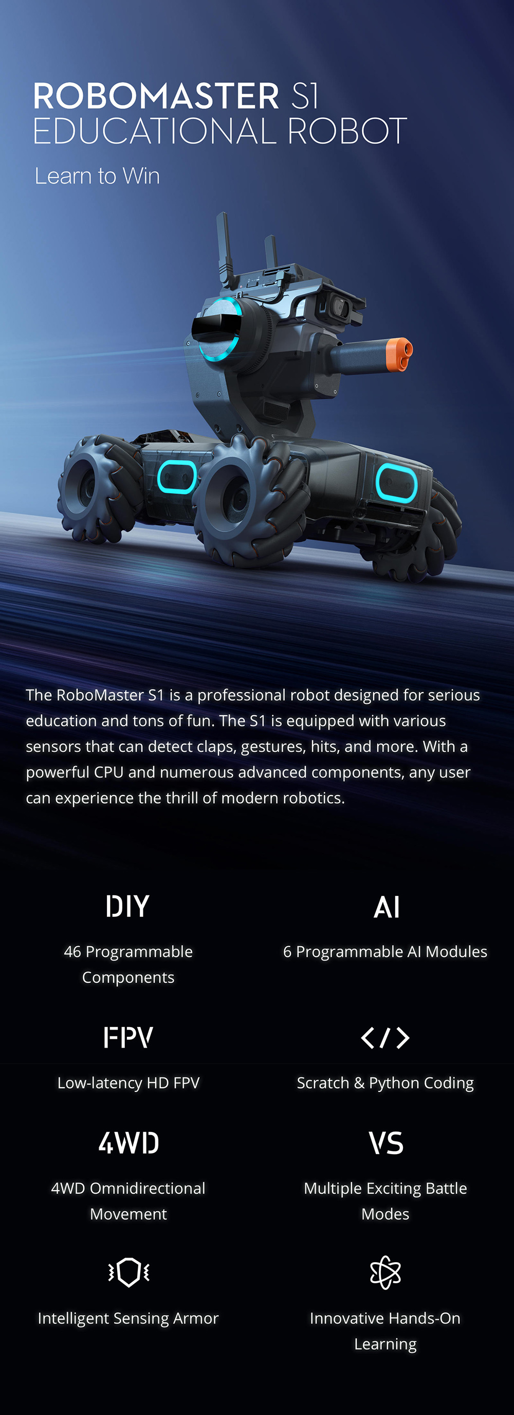 DJI Robomaster S1 STEAM DIY 4WD Brushless HD FPV APP Control Intelligent  Educational Robot With AI Modules Support Scratch 3 0 Python Program