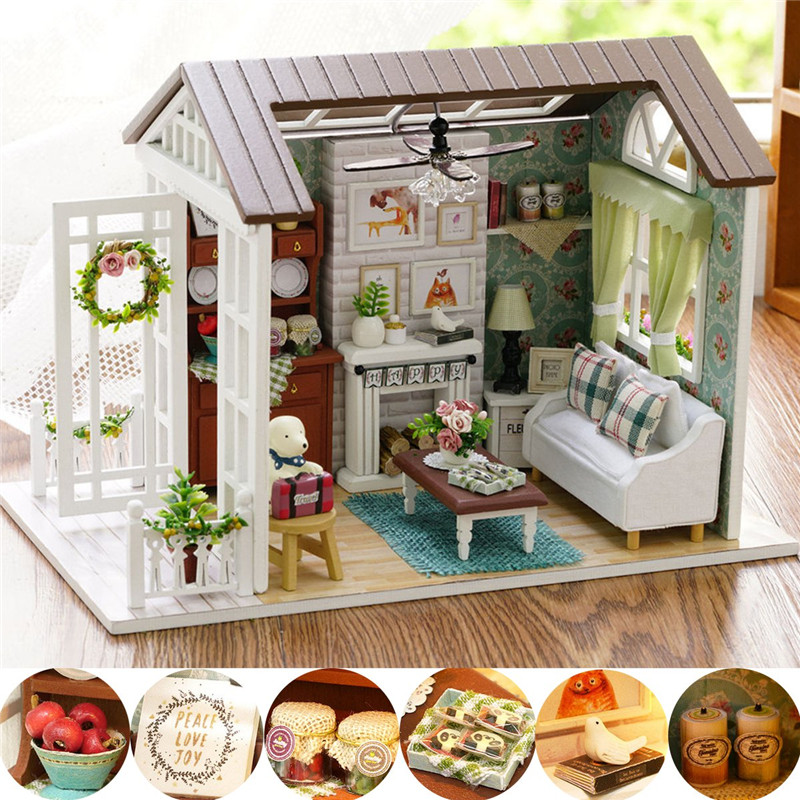 Cuteroom Forest Times Kits Wood Dollhouse Miniature DIY House Handicraft Toy Idea Gift Happy times