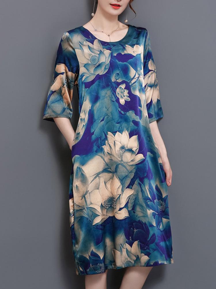 Китайский стиль Цветочный карман для печати Платье