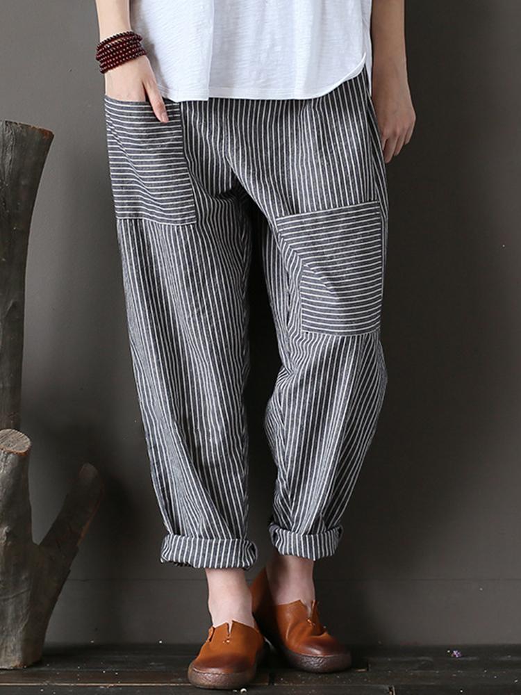 M-5XL Women Stripe Elastic Waist Casual Loose Harem Pants