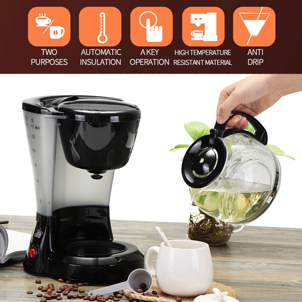 1.2L Electric Drip Coffee Tea Espresso Maker Automatic Filter Machine 10-12 Cups Coffee Machine 15