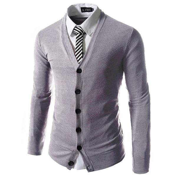 Мода Чистый цветной вязать кардиган Тонкий Fit V-образным вырезом кардиган