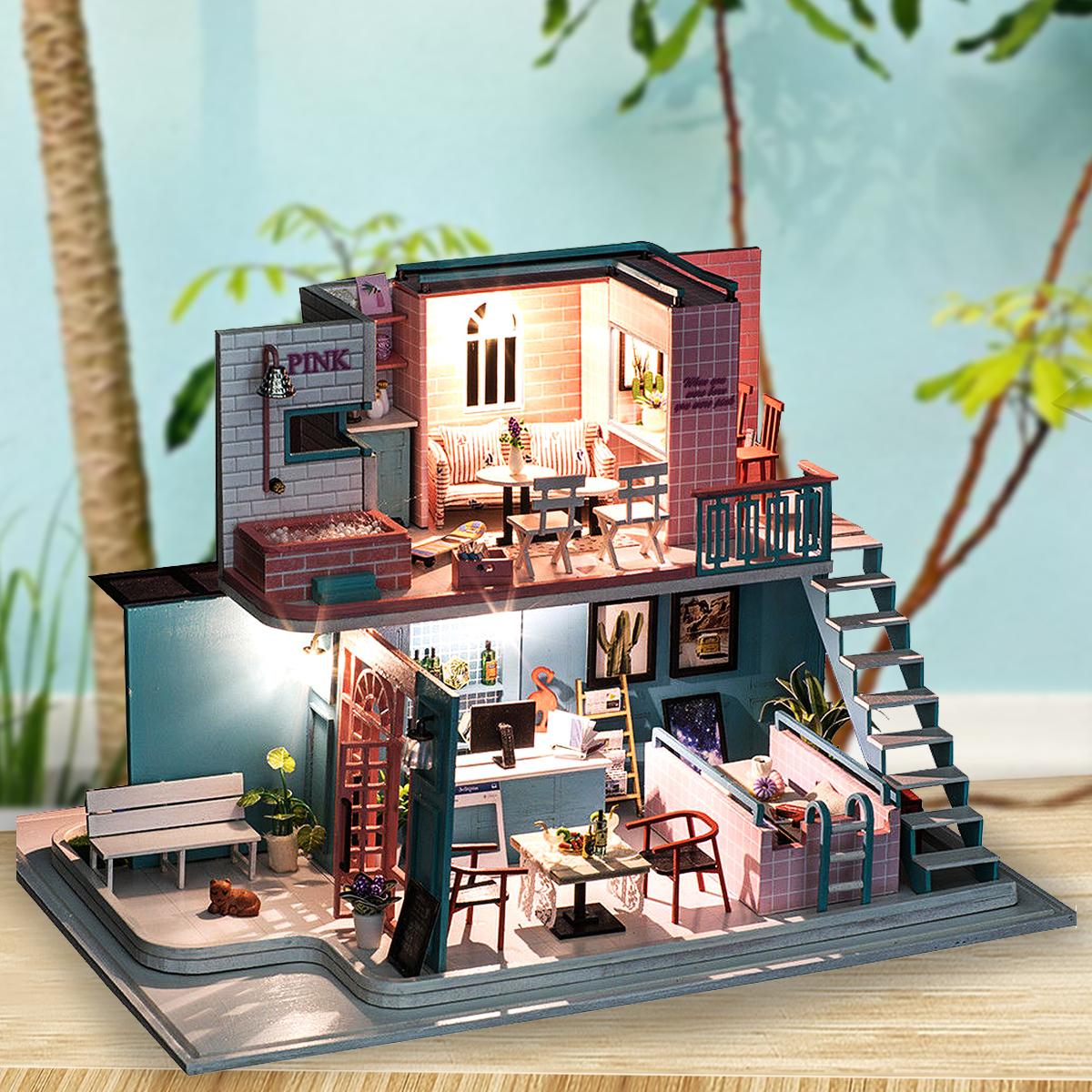 Деревянные миниатюры ручной работы 3D Кукла Дом Розовый Кафе Кукла Мебель для дома Diy Миниатюрные игрушки для девочек Подарки на день рожде