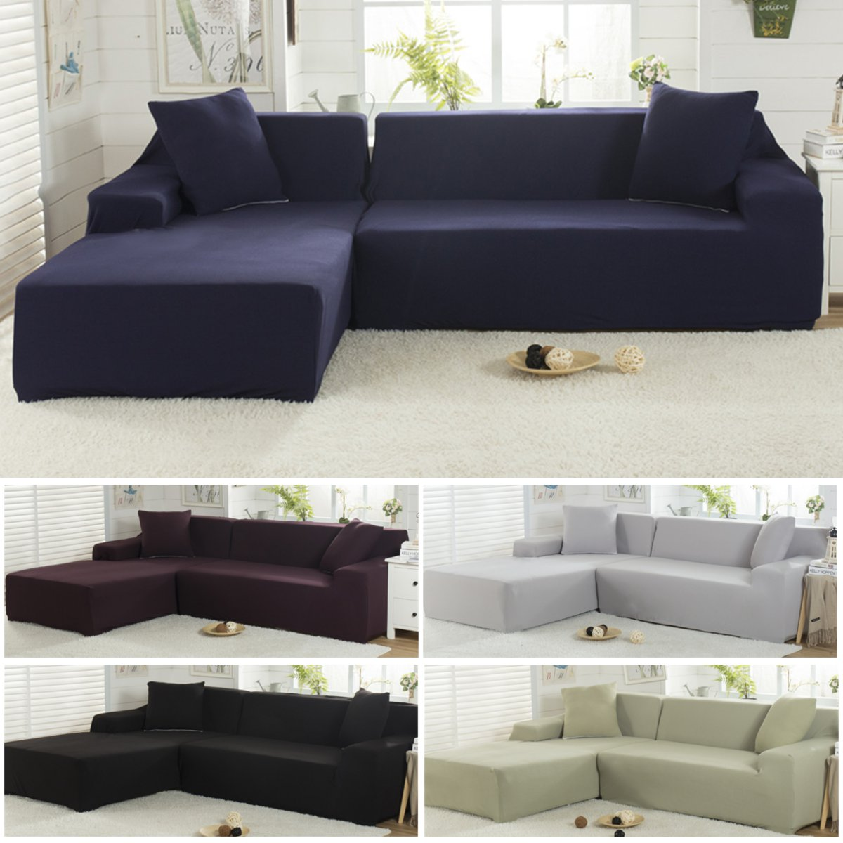 Outstanding L Shape Couch Cover Stretch Elastic Fabric Sofa Cover Pet Sectional Corner Chair Covers Ocoug Best Dining Table And Chair Ideas Images Ocougorg