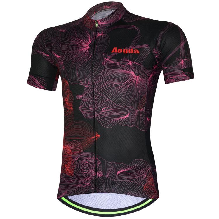 AOGDA унисекс лепесток черный с коротким рукавом Велоспорт Джерси Спорта на открытом воздухе летняя полиэфирная сетка дышащий