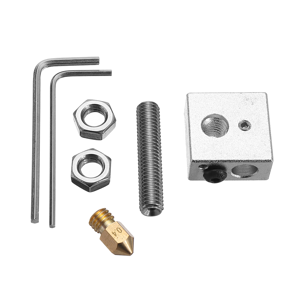 0.4mm Brass Nozzle + Aluminum Heating Block + 1.75mm Nozzle Throat 3D Printer Part Kit with M6 Screws & 1.5mm Wrench
