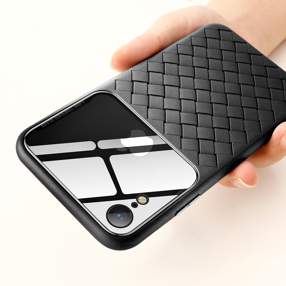 BaseusЗащитныйЧехолдляiPhoneXR Устойчивый к царапинам закаленный стекло сплетенный задний чехол ТПУ