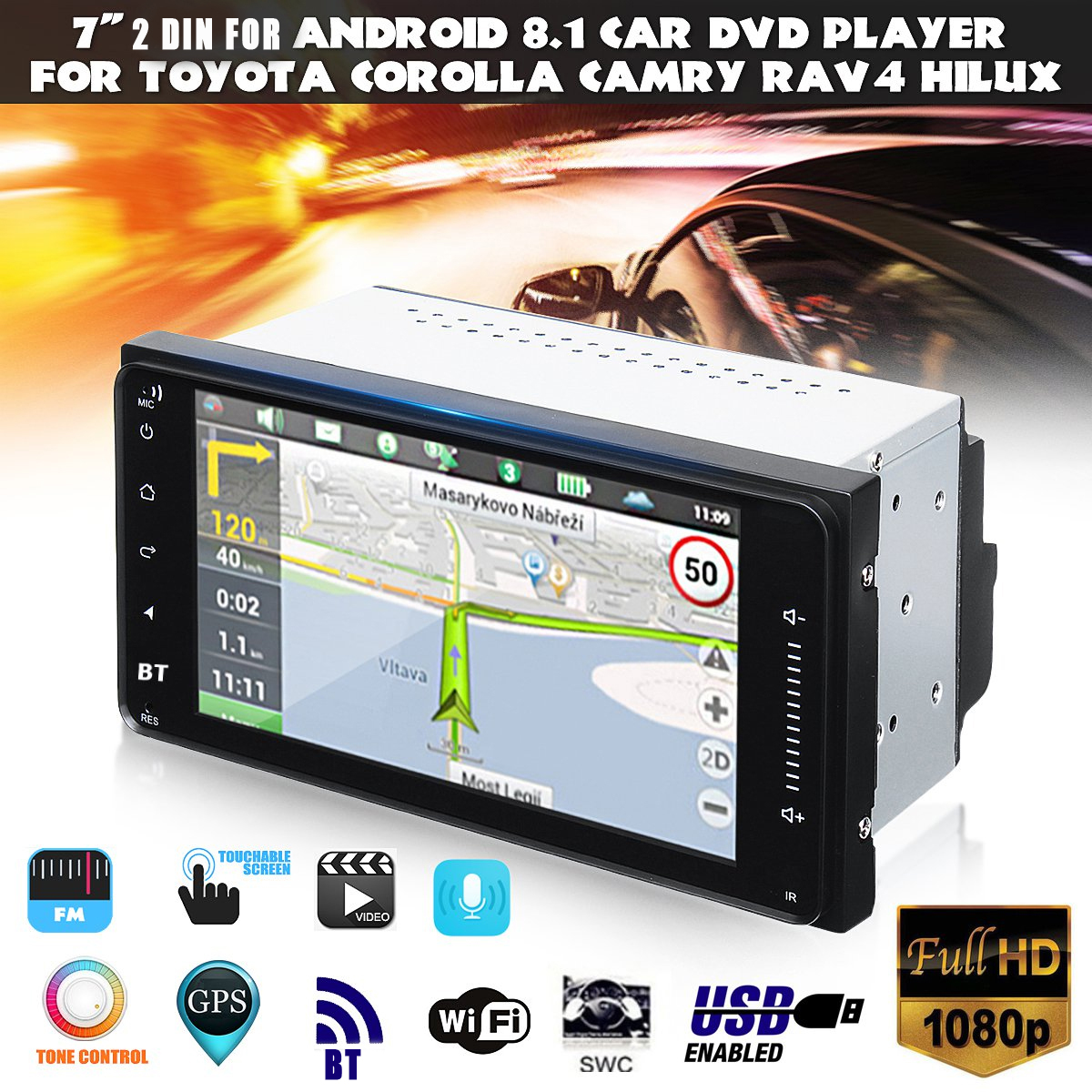 7 Inch 2 Din for Android Car MP5 Player 1+16G WIFI GPS Stereo bluetooth  Radio for Toyota Corolla Hilux RAV4 ETC