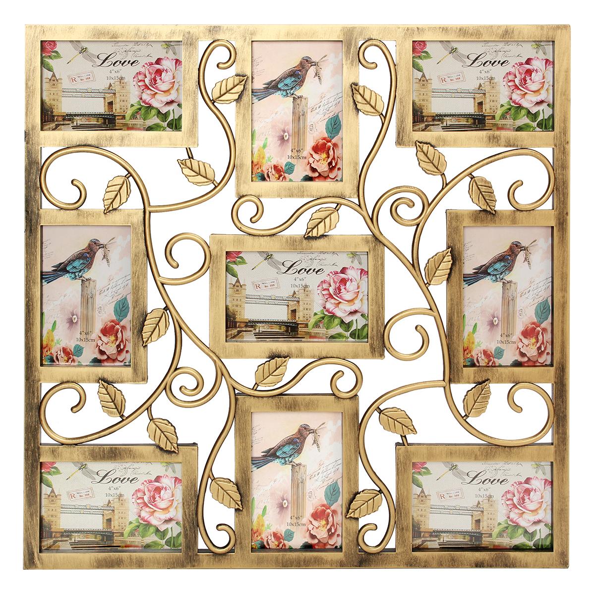 Бронзовая цветочная стена Висячие коллажи Фоторамки Изображение Дисплей Подарок Декор 6X4inch