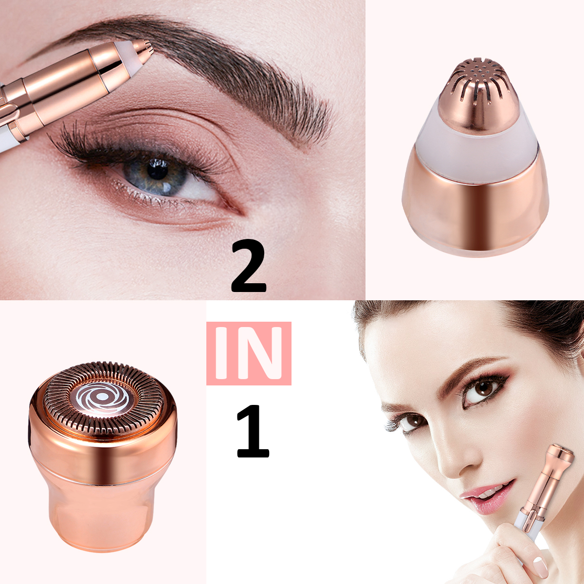 Hapord Eyebrow Hair Remover Hassle-Free Portable Finishing Touch Flawless Brows Removal Razor With Light Battery Included