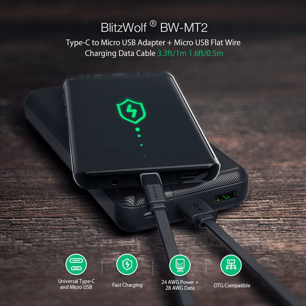 Blitzwolf BW-MT2 Micro USB Flat Fast Charging Data Cable With Type C  Adapter For Phone Tablet