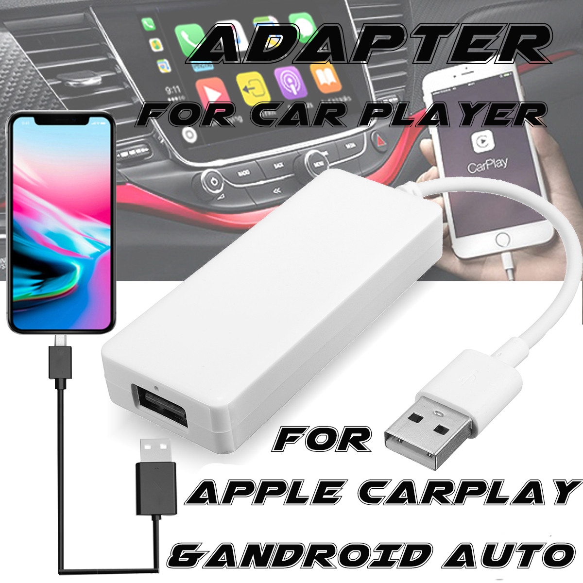 USB Dongle Adapter for iPhone Android Carplay Navigation Headunit Link MP5  Player