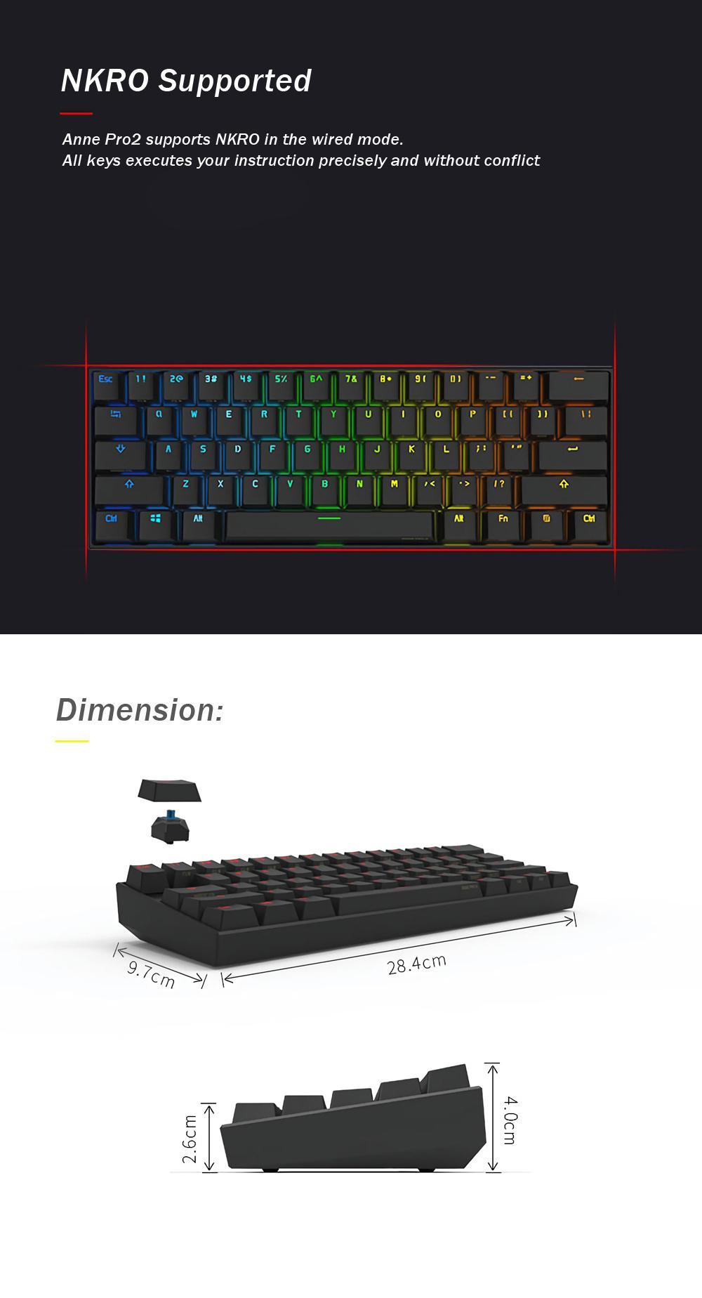 [Gateron Switch]Anne Pro 2 60% NKRO bluetooth 4.0 Type-C RGB Mechanical Gaming Keyboard 20