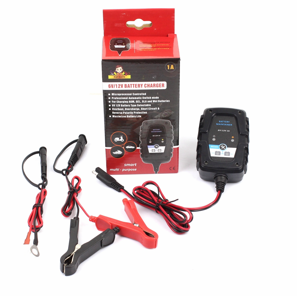 FOXSUR 6V 12V 1A Automatic Smart Battery Charger Maintainer With SAE Line  For Car Motorcycle Scooter Deep Cycle AGM GEL VRLA