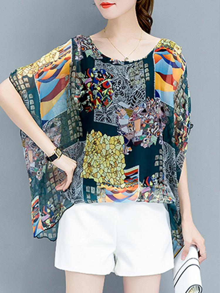 Полусильная шифонная шифонная блузка