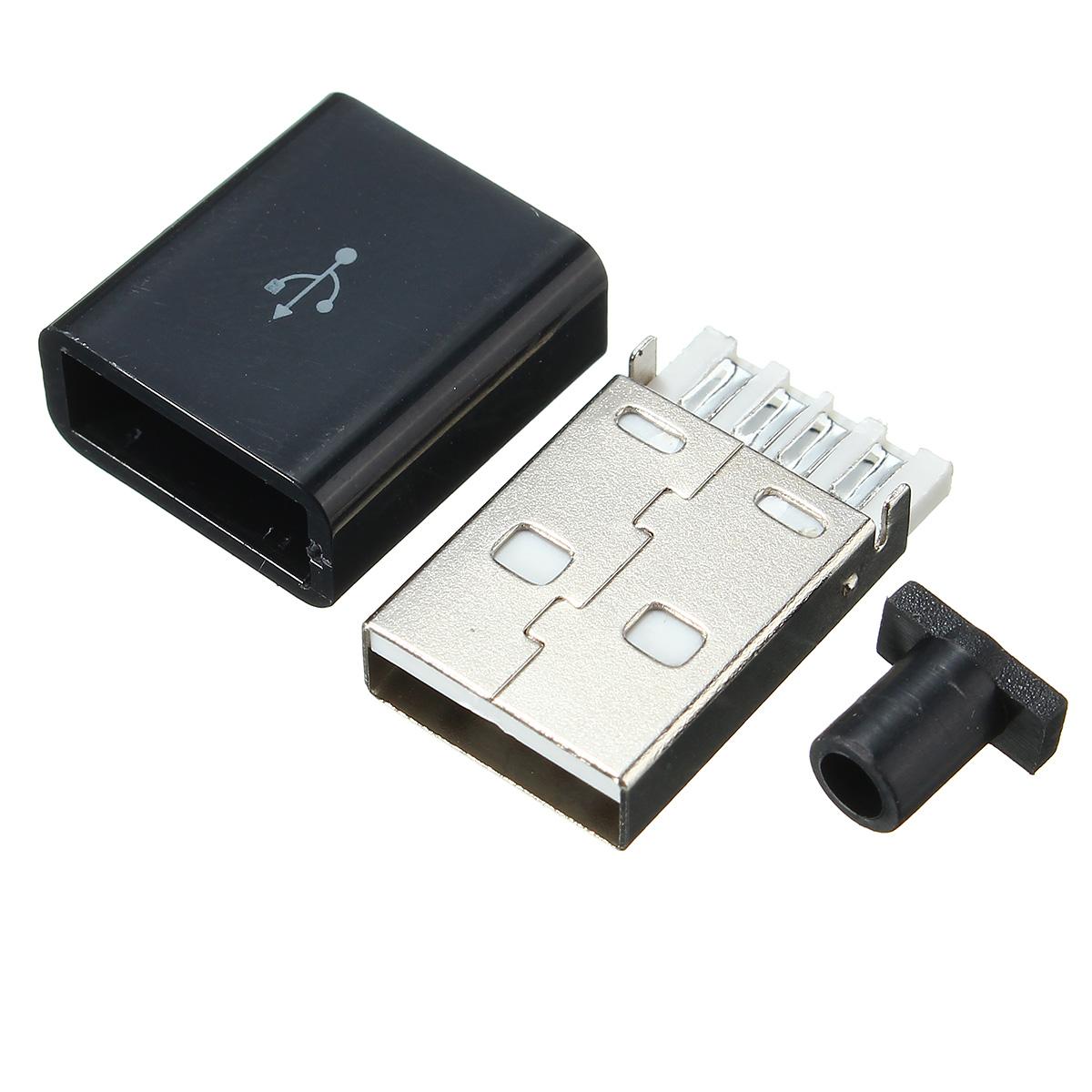 10Pcs USB 2.0 Коннектор Тип A разъемный 4-контактный мужской адаптер Припой Коннектор с черной пластиковой крышкой