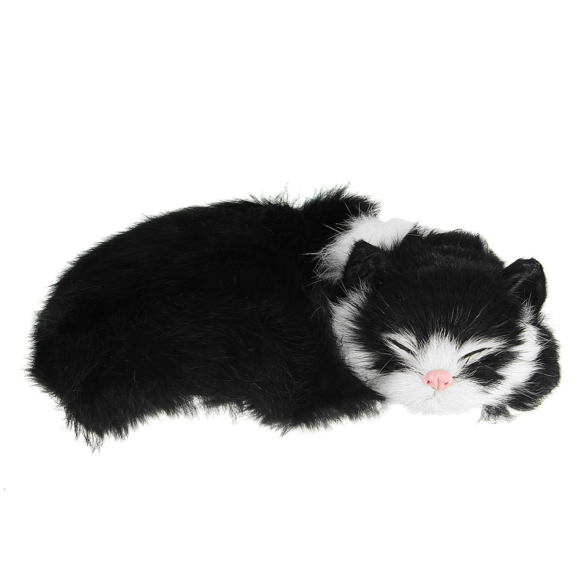 Realistic Sleeping Cat Lifelike Plush Fake Kitten Fur Furry Animal Figurine  Toys Home Decorations