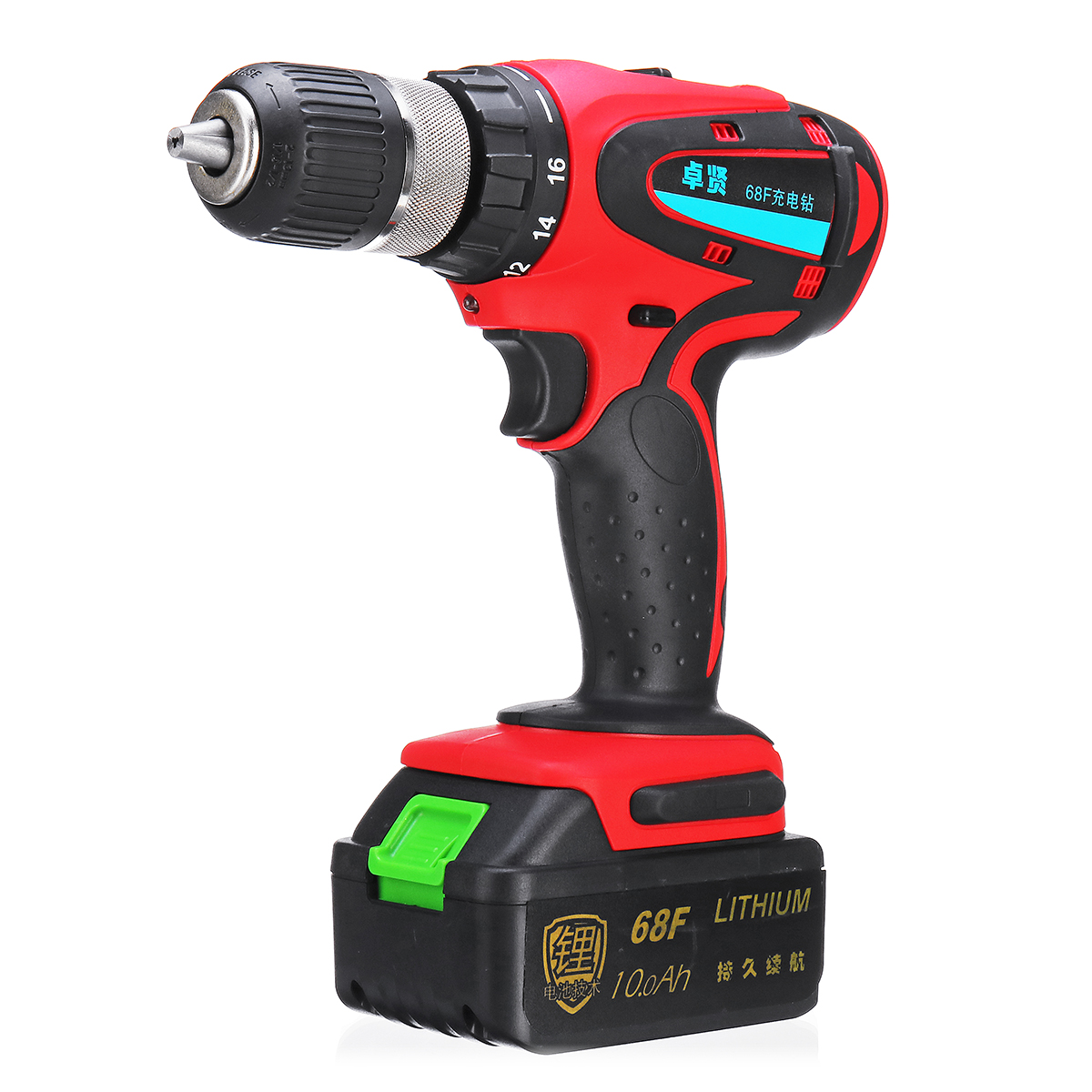68V 10Ah Cordless Rechargeable Electric Drill 2 Speed Heavy Duty Torque Power Drills
