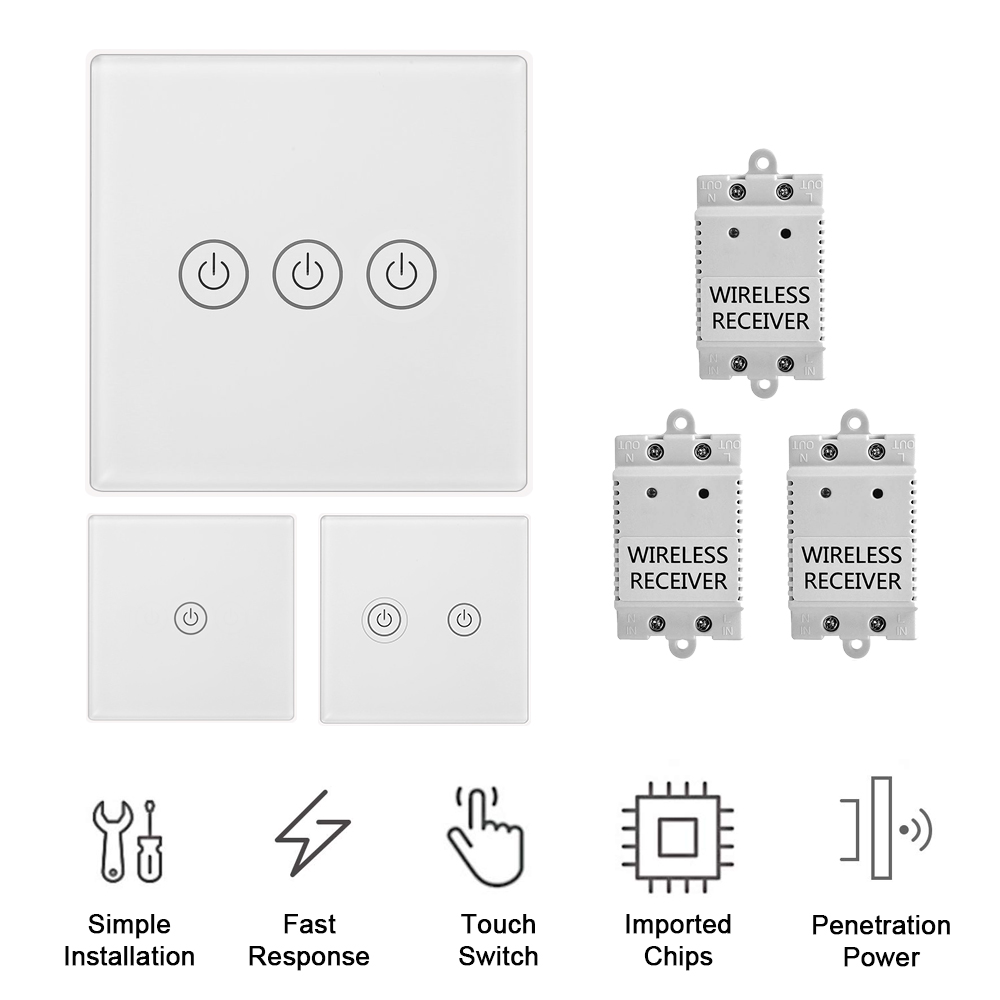 1/2/3 Gang Touch Control Outlet Wireless Light Switch with 3PCS Receivers Kit for Household Appliances Unlimited Connections Control Module Switch Panel Housing 47