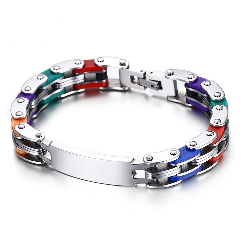 Trendy Stainless Steel Chain High Polished Silicone Cool Gift Bracelet for Men