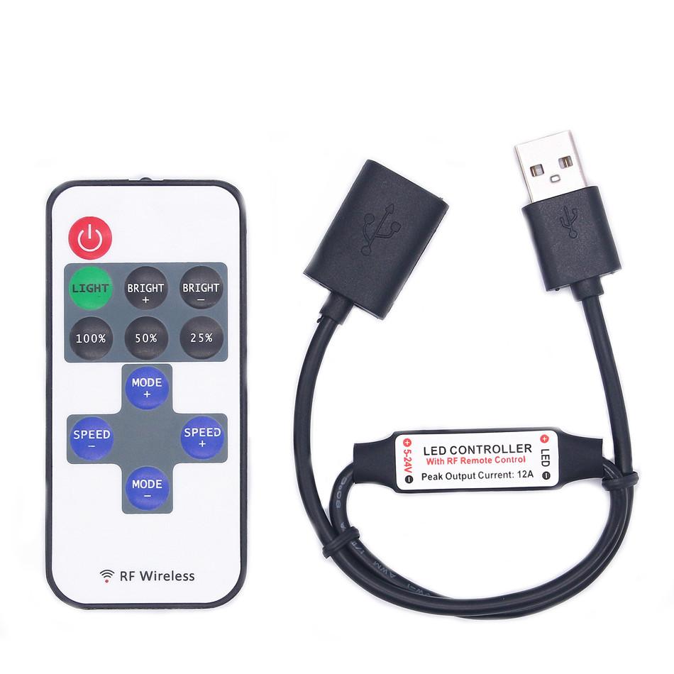 DC5-24V 11 Tasten Mini USB RF Wireless Dimmer Fernbedienung LED Controller für Single Color Strip
