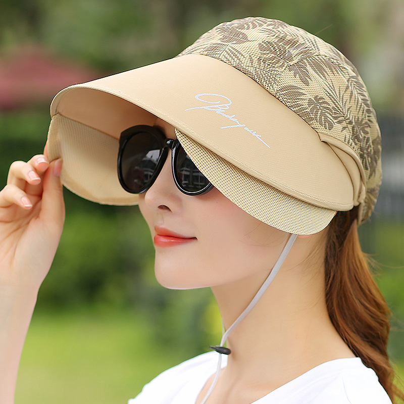 Womens Wide Birm UV Protection Sun Hat Outdoor Summer Beach Packable Empty Top Visor Cap