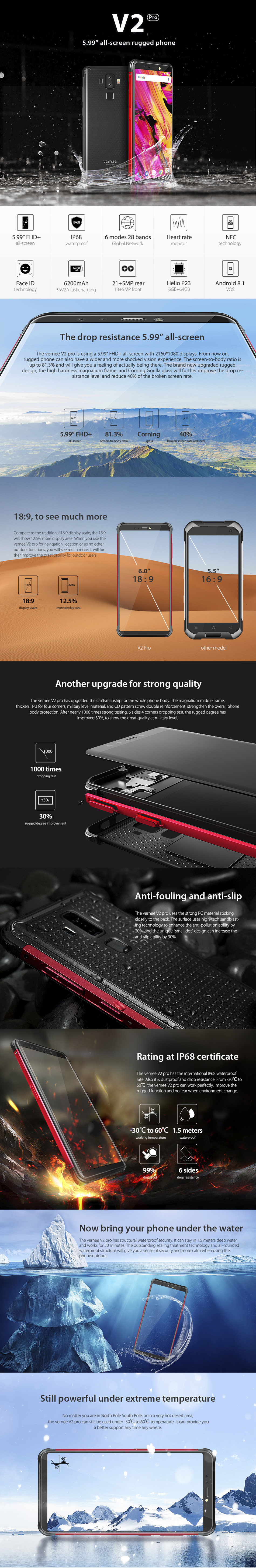 994a6c456 Vernee V2 Pro Global Bands 5.99 inch FHD+ Android 8.1 IP68 6GB RAM 64GB ROM  MT6763 4G Smartphone