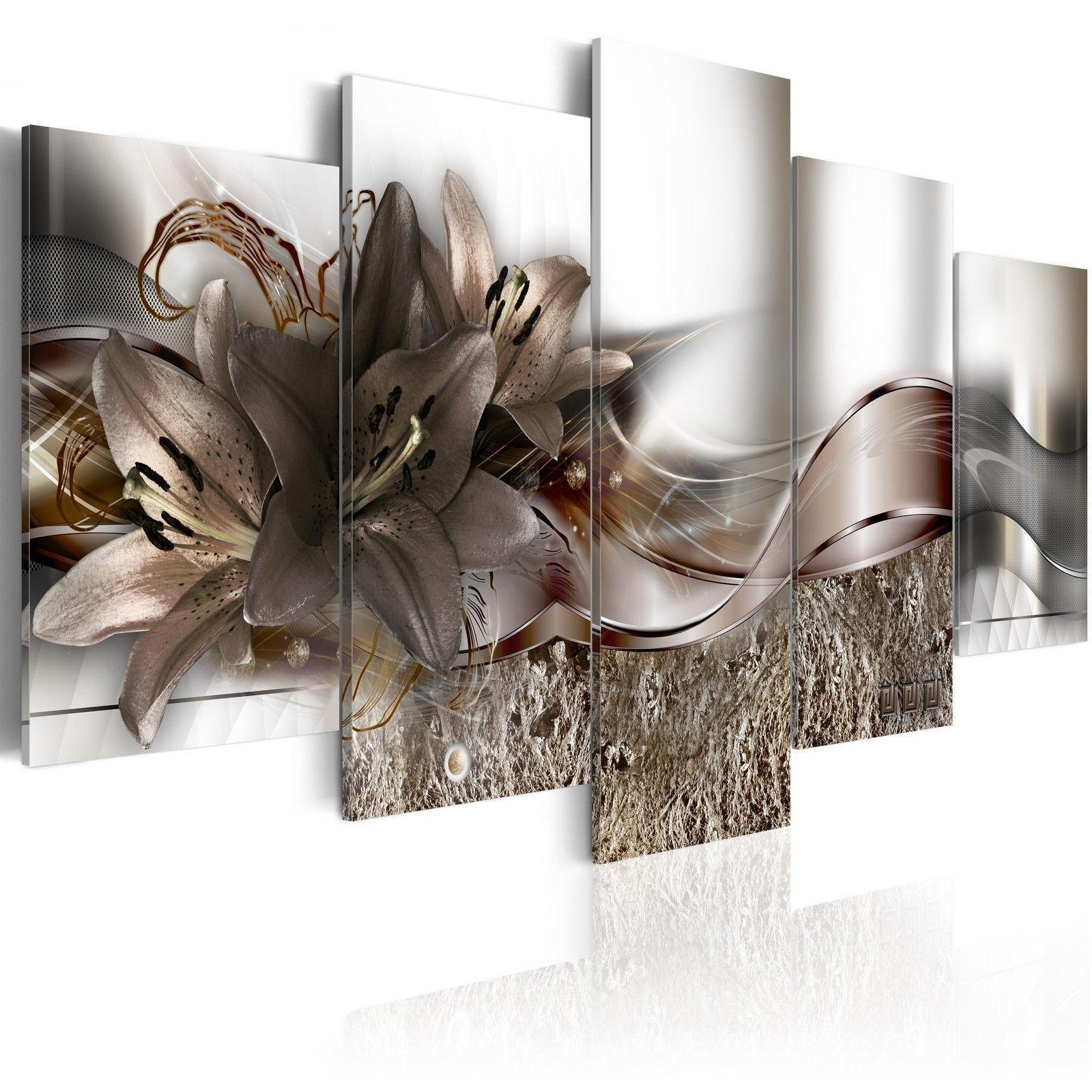5ПанелиБольшиеАбстрактныеЦветыПечать Картины Холст Стены Картины Картины Картины без рисунка для Домашних Украшений фото