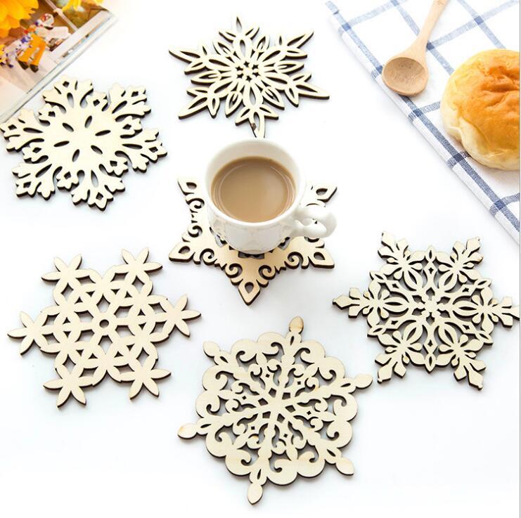 ДеревяннаяпосудаКухняРождественскиетарелкистола Мат украшения для кубка на открытом воздухе кружка Чай кофе снежинка Pad