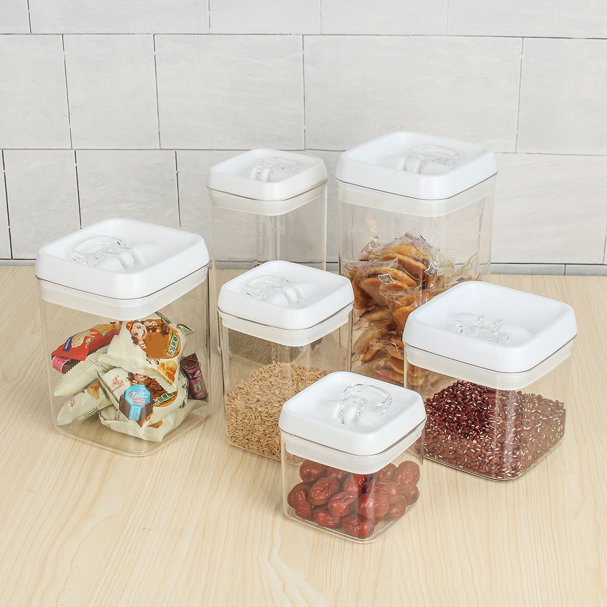 Airtight Kitchen Food Storage Container With Lid Vacuum Seal Cereal Food Fresh Keeping Box