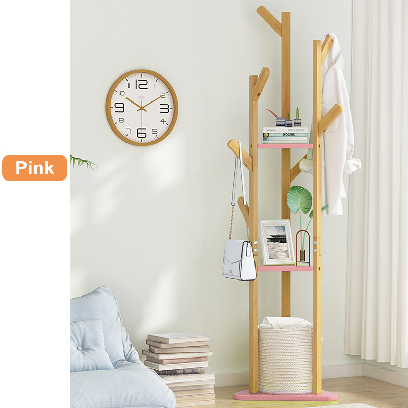 60 Inch Sturdy Natural Bamboo Tree Garment Clothes Coat Hat Hanger Stand Rack 10