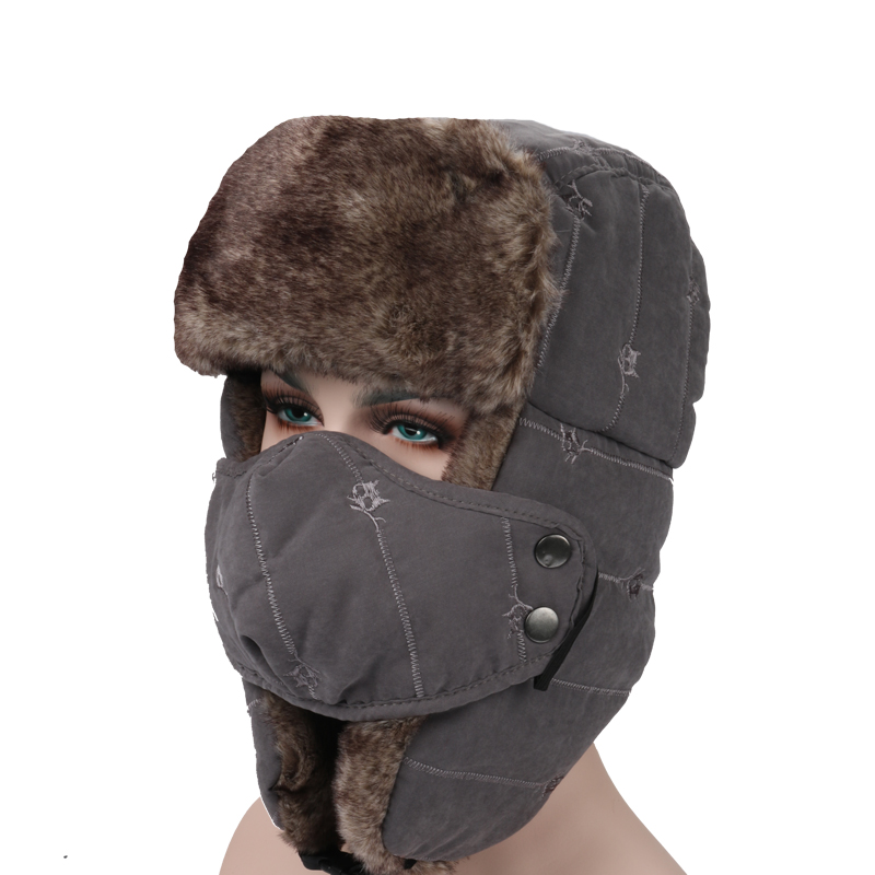 2d4b7a40 Mens Velvet Winter Russian Hats Outdoor Skiing Windproof With Masks Lei  Feng Caps