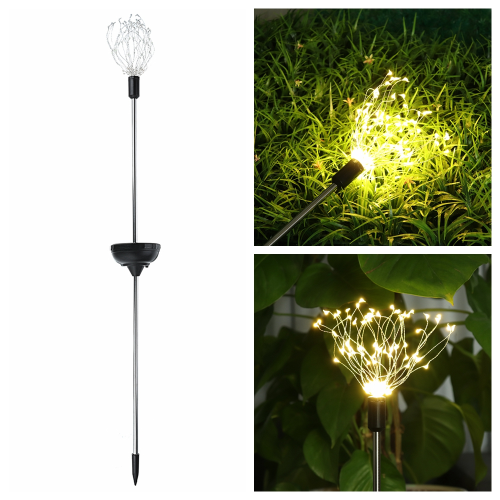 Solar Powered 8 Modes Warm White Sliver Wire Starburst Firework 90LED String Light for Christmas Wedding Garden