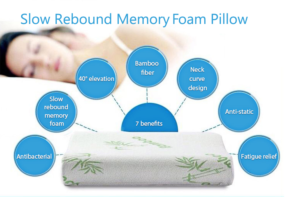 30x50cm Soft Memory Foam Pillow Bamboo Fiber Slow Rising Rebound Space Memory Sleeping Pillow