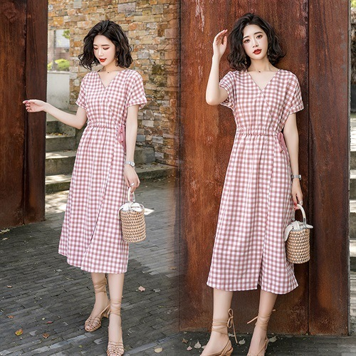 Eachine1 / Short-sleeved Literary Small Fresh Dress Women's New Waist Retro Plaid A Word Skirt Female Student