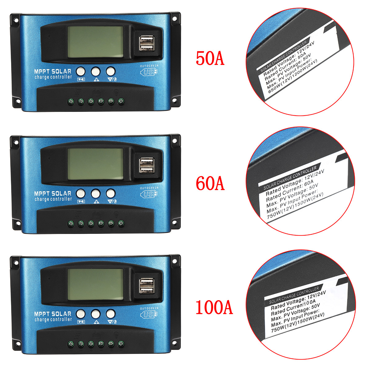 30/40/50/60/100A MPPT Solar Controller LCD Solar Charge Controller Accuracy Dual USB Solar Panel Battery Regulator 18