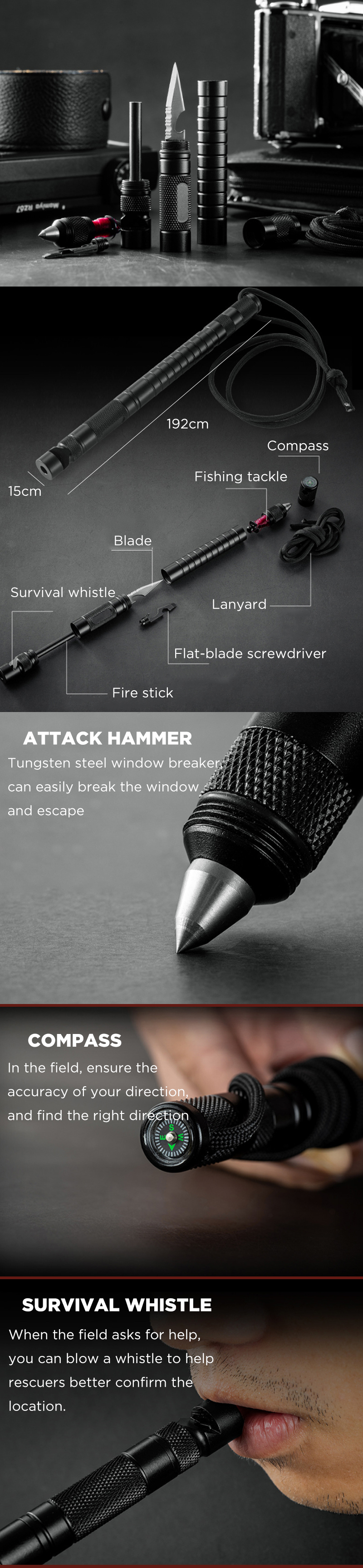 IPRee® 7 In 1 Outdoor EDC Fire Stick Survival Whistle Comapss Screwdriver Fishing Line Safety Hammer Multifunctional Tools Kit Camping Emergency