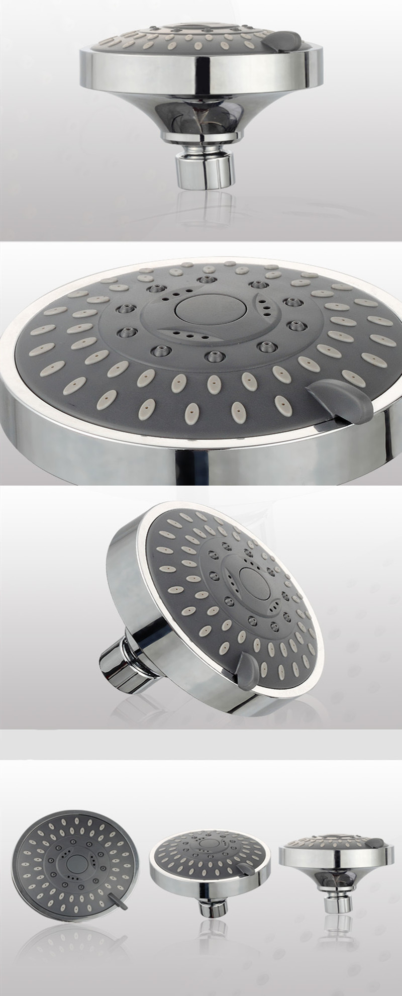 3 Way Shower Head Diverter With Mount Combo Show Arm Mounted Valve Fix Bracket 5 Functions Top Spray Shower Set