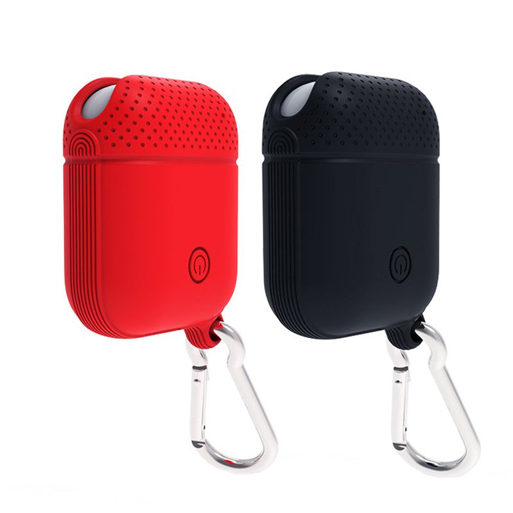 Portable Anti-lost Shockproof Silicone Protective Case Cover with Hook for Apple Earphones Airpods