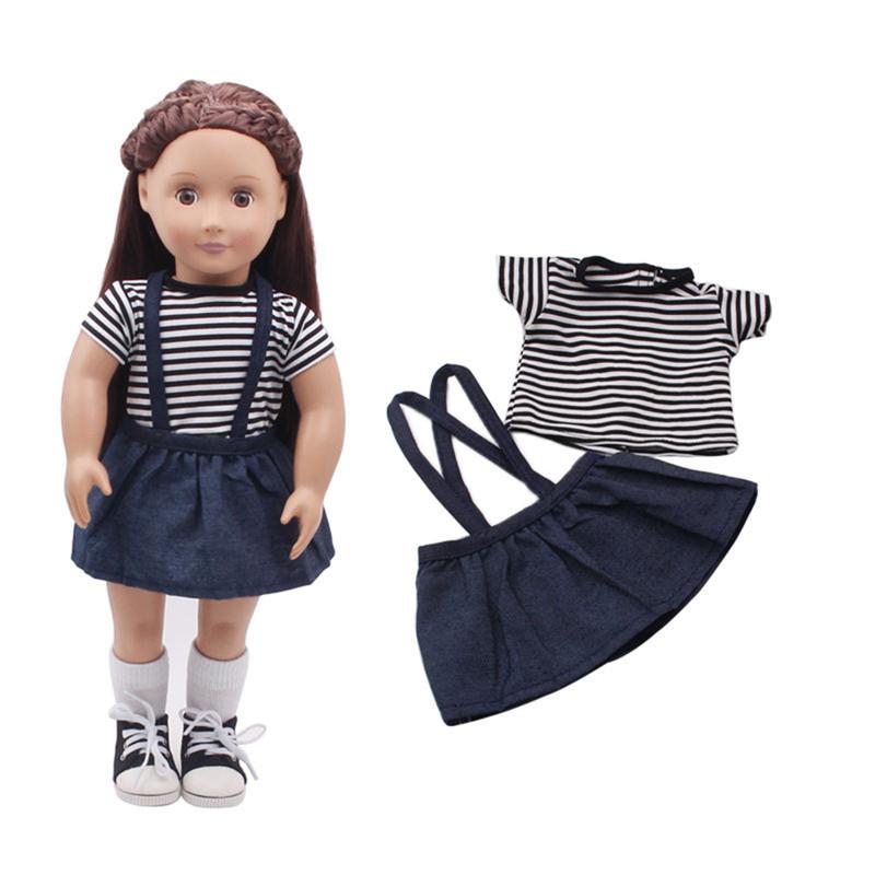 Полосатая юбка футболки установлена для 18 '' Американская девушка нашего поколения Путешествие Кукла Аксессуары