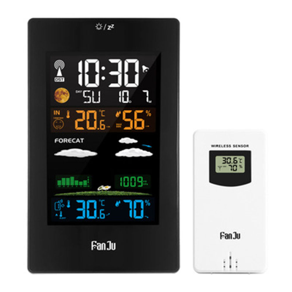 FanJu 3389 LED Electronic Clock Color Screen Weather Clock Indoor Outdoor Temperature Humidity Clock Multi-Function Weather Station