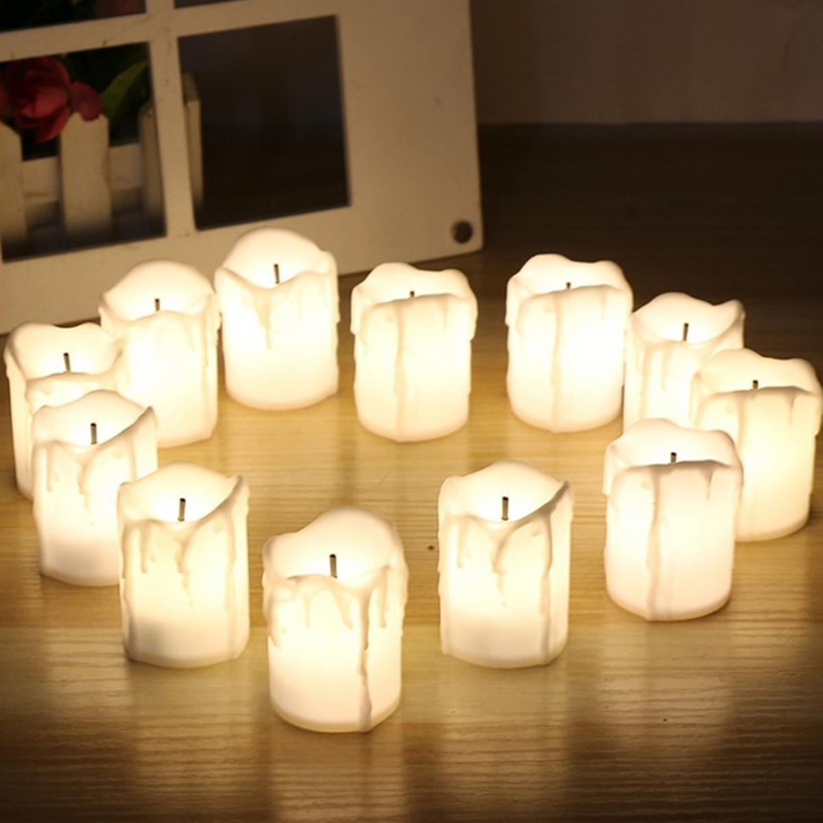 12Pcs LED Чай Свеча свеча Чай Легкий беспламенный мерцание Батарея Украшения