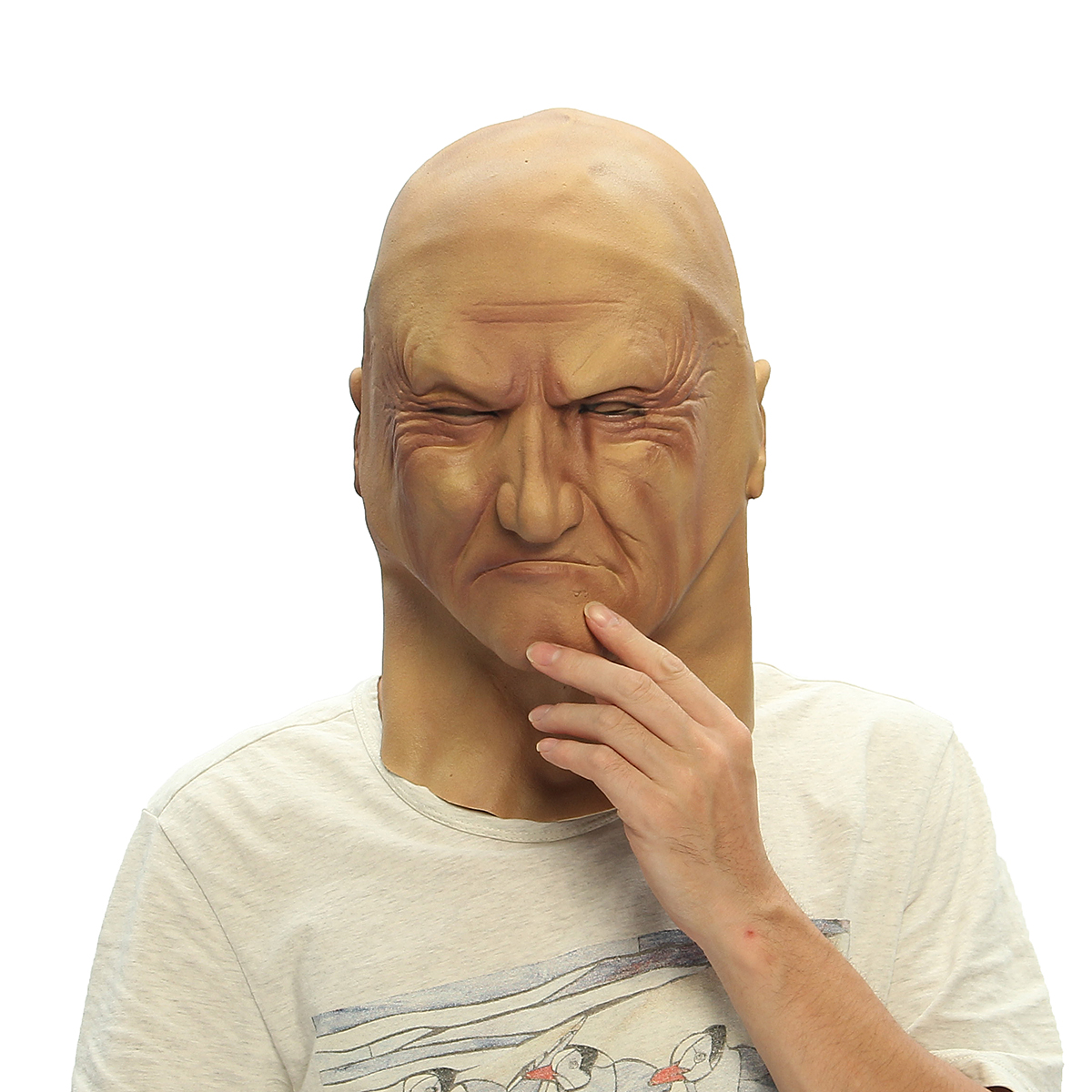 Realistic Old Man Mask Disguise Halloween Fancy Bruiser Latex Party Face Mask